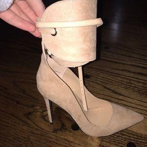 Tan Suede Ankle Wrap Heels